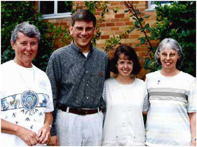 Brother Paul Bednarczyk, CSC, Sister Cathy Bertrand, SSND and two Australian vocation ministers at a 1998 workshop in Australia